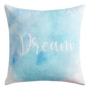 NWT BLUE WATERCOLOR DREAM THROW PILLOW
